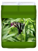 Zebra Swallowtail Butterfly In Green Duvet Cover