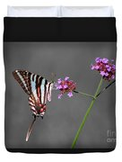 Zebra Swallowtail Butterfly With Verbena Duvet Cover