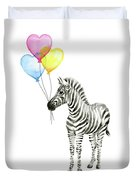 Baby Zebra Watercolor Animal With Balloons Duvet Cover