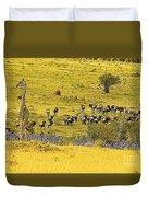 Zebra, Wildebeest And Giraffe Duvet Cover