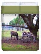 Zebras Under Oaks Duvet Cover