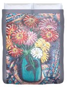 Zinnias In The Sun Duvet Cover