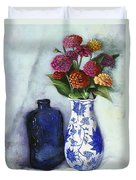 Zinnias With Blue Bottle Duvet Cover