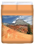 Zion National Park As A Storm Rolls In Duvet Cover by Christine Till