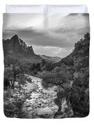 Zion National Park In Black And White  Duvet Cover