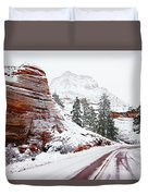 Zion Road In Winter Duvet Cover
