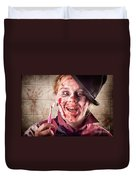 Zombie At Dentist Holding Toothbrush. Tooth Decay Duvet Cover
