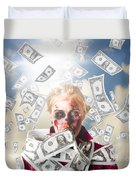 Zombie With Crazy Money. Filthy Rich Millionaire Duvet Cover
