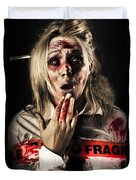 Zombie Woman Expressing Fear And Shock When Waking Duvet Cover