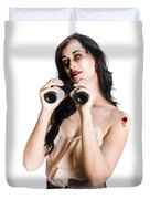 Zombie Woman With Binoculars Duvet Cover