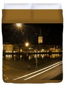 Zurich At Night Duvet Cover