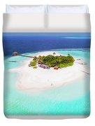 Aerial Drone View Of A Tropical Island, Maldives Duvet Cover