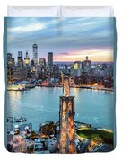 Aerial Of New York City  And Brooklyn Bridge At Dusk Duvet Cover