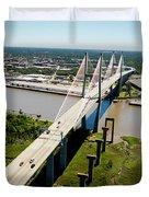 Aerial View Of Talmadge Bridge Duvet Cover
