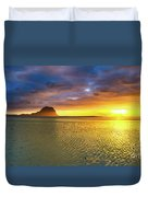 Amazing View Of Le Morne Brabant At Sunset.mauritius. Panorama Duvet Cover