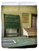 An Old Classroom With Blackboard And Boards With Old Script Duvet Cover