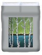 Aspen Trees On The Lake Duvet Cover