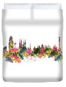 Barcelona Watercolor Skyline Duvet Cover