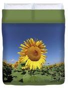 Bee On Blooming Sunflower Duvet Cover