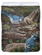 Blue Jay Stand Off Duvet Cover