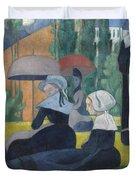Breton Women With Umbrellas  Duvet Cover