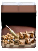 Chess Board And Bullets. Duvet Cover