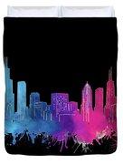 Chicago Skyline Watercolor 3 Duvet Cover