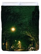 Dark Chicago City Street At Night Duvet Cover