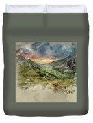 Digital Watercolor Painting Of Beautiful Dramatic Landscape Imag Duvet Cover