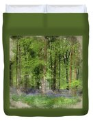 Digital Watercolor Painting Of Stunning Bluebell Forest Landscap Duvet Cover