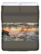 Digital Watercolor Painting Of Stunning Winter Panoramic Landsca Duvet Cover
