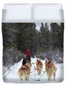 Dog Sledding Near Whitehorse Yukon Canada Duvet Cover