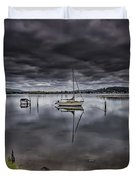 Early Morning Clouds And Reflections On The Bay Duvet Cover
