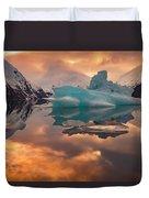 Sunset On Iceberg Duvet Cover