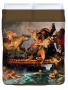 Fighting On A Bridge  Duvet Cover