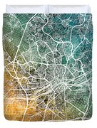 Frankfurt Germany City Map Duvet Cover