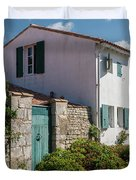 french houses in the streets of Saint Martin de re Duvet Cover