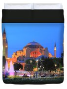 Hagia Sophia At Night Istanbul Turkey  Duvet Cover