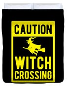 Halloween Shirt Caution Witch Crossing Gift Tee Duvet Cover