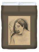 Heads Of Tahitian Women, Frontal And Profile Views Duvet Cover