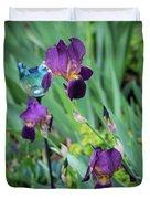 Iris In The Cottage Garden Duvet Cover