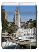 Los Angeles City Hall And Arthur J. Will Memorial Fountain Duvet Cover