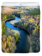 Manistee River From Above In Spring Duvet Cover