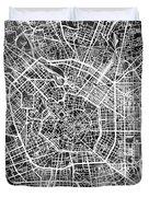 Milan Italy City Map Duvet Cover