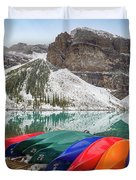 Moraine Lake Canoes Duvet Cover