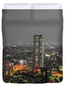 Mostly Black And White Tokyo Skyline At Night With Vibrant Selective Colors Duvet Cover