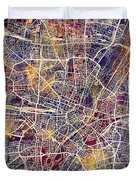 Munich Germany City Map Duvet Cover