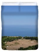 Photography View Over The Mountain Village Erice In Sicily Duvet Cover