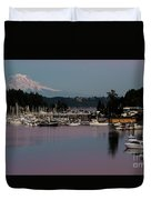 Pink Purple Glow Over Mount Rainier And Gig Harbor Marina After Sunset Duvet Cover