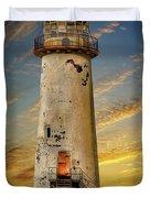 Point Of Ayr Lighthouse Sunset Duvet Cover